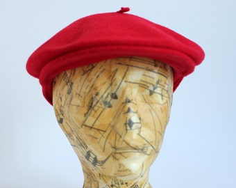 Bright Red Wool Kangol Newsboy Indie Hat Cap Beret Modelaine Pepe Made in England
