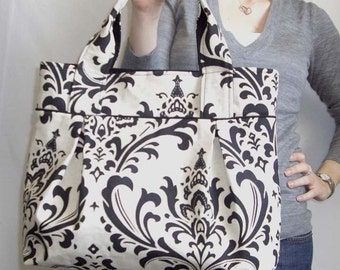 Weekend Tote - Black and Linen Damask