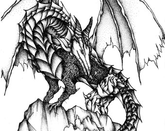 Dragon, Giclee art print. A4, Original drawing, Black and white art, Ink art, illustration, Fine art, art print, art, drawing, fantasy