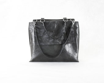 PORTEL  Black top handle bag