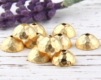 Hammered Round Bead Caps, Wide Cones, 22K Matte Gold Plated, 10 pieces // GF-141