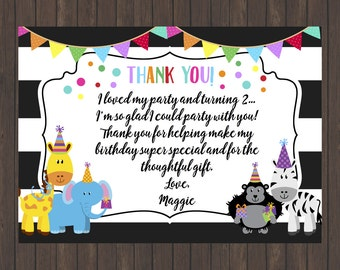 Party Animal Birthday Party Thank You