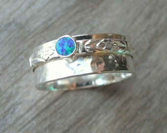 Sterling silver spinner ring worry ring blue opal ring fidget ring anxiety ring rolling ring sterling silver ring silver spinning ring