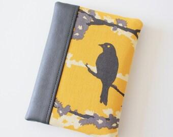 Passport Cover, Passport Wallet, Travel Wallet, Travel Organizer, Passport Holder for 2 (Two) passports - Birds - Grey / Yellow