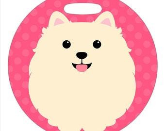 Luggage Tag - Cream Pomeranian - Round Plastic Bag Tag