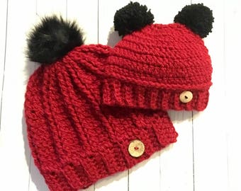 Red Pom Pom Hats, Mommy and Me Hats, pompom beanies, Baby Hats, faux fur pompom hats, matching beanies,