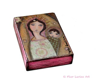 Madonna I  - ACEO Giclee print mounted on Wood (2.5 x 3.5 inches) Folk Art  by FLOR LARIOS