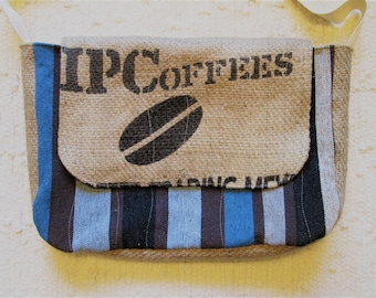 Upcycled Coffee Sack Eco Friendly Rustic Crossbody Messenger Bag