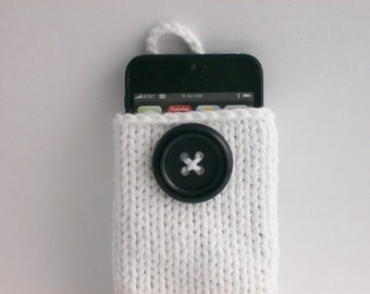 Apple or Android Cell Phone Case Cozy Hand Knit White with Large Black Button Crochet Loop Wonderful Gift
