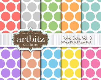 "Polka Dots Vol. 3, 10 Piece Digital Scrapbooking Paper Pack, 12""x12"", 300 dpi .jpg, Instant Download!"