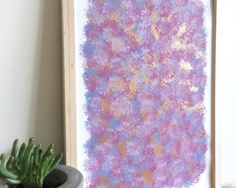 """ABSTRACT WALL ART - ready to hang original print - framed acrylic painting with copper A4 """"Bryn"""""""