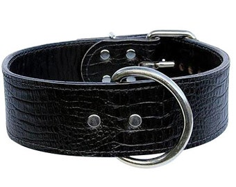 Black Croc Leather Dog Collar With Black Stitching - Black Embossed Croc Leather Collar - Croc Leather Dog Collar - (Made In Ca)