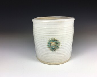Pottery Planter with Drainage Hole, Small, White with Turquoise Stamp