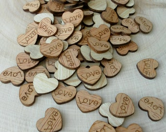 "100 Tiny ""Love"" Hearts ~ 1/2"" ~ Cute Little Wooden Hearts! Bridal Shower Decoration ~ Summer Wedding"