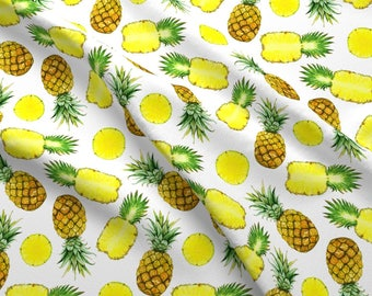 Summer Pineapples Fabric - Pineapples By Svetlana Prikhnenko - Watercolor Summer Fruit Cotton Fabric By The Yard With Spoonflower