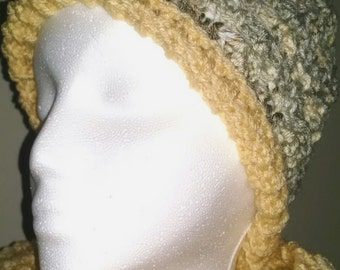 Cornmeal and Toasted Marshmallow Crochet Handmade Yellow Hat with brim