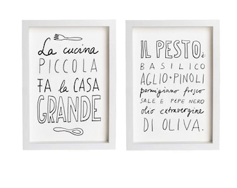 """Italy PESTO and LA CUCINA Print Set 11""""x15"""", Hand-lettered typography art italian kitchen italy quote - archival fine art giclée prints"""