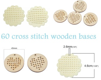60 wooden bases for cross stitch-60 wooden bases for cross Point-60x Holzbasen für Kreuzstich-60x bases en bois pour point de croix