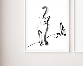 Minimalist black and white cat fine art print, cat watercolor painting art, modern minimalist cat wall art print