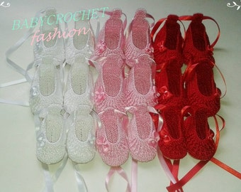 Baby Shoes, Crochet Baby Shoes, Ballet Shoes, Christening shoes, Baby Shoes, Baby Slipper,
