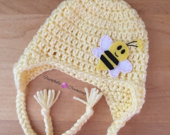 Newborn bumblebee earflaps hat... Ready to ship.. Photography prop