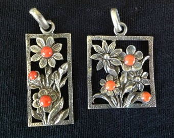 Vintage Silver Floral and Coral Pendant
