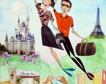Custom Couple Portrait - Gift for Him - Original Mixed-Media Illustration