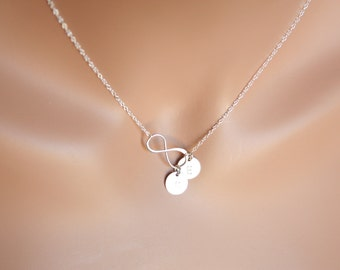 Customized Infinity with Two Initial disk necklace  All Sterling Silver, You and me necklace , engraved disc, everyday wear, perfect gifts