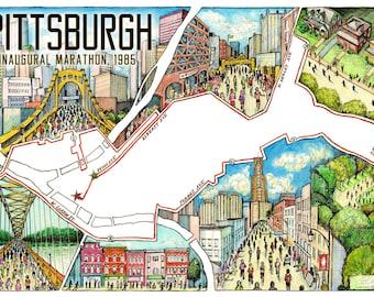 Pittsburgh: The Marathon Map   Pittsburgh Marathon map   Pittsburgh runner gift   Pittsburgh running   Marathon map art   Pittsburgh poster