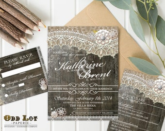Rustic Wood Wedding Invitations and RSVP Card Printable Wedding Invitations Country Rustic Printable Invites that are Shabby Chic ~Wood Lace