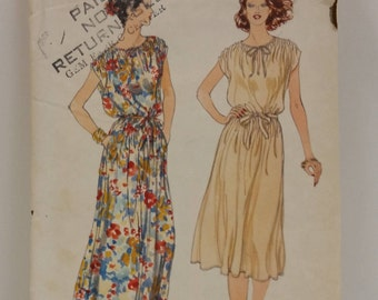Vintage Vogue Pattern 7082 in Size Misses' 16 Bust 38 for a Loose-Fitting Pullover Dress in Two Lengths