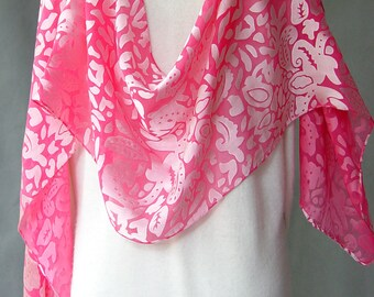 """Hand Painted Silk Scarf  """"Bright Pink"""" soft silk scarf devore satin perfect for holiday parties satin on chiffon duppata chunni headscarf"""