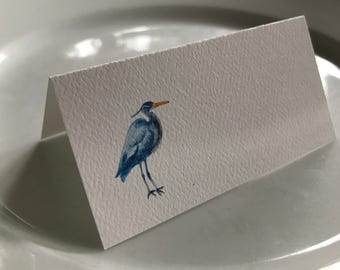 Blue Heron Name Tags, Tented Name Cards,  Party Table Decor, Personalized Card,  Event Decor, Blank Name Cards, Beach Event Cards, Audubon