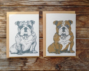 Dog Note Cards: 10 Pack; British Bulldog
