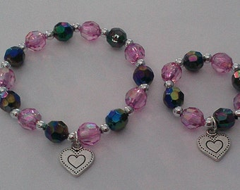 Child and doll matching bracelets sparkly pink heart jewelry American Girl accessory