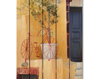Red Bicycle on Cedar, Home Decor, Indoor or Outdoor Art, Wall Hanging. (SED1624/2836)