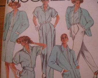 UNCUT FF  Vintage 80's  Misses Jacket, Shirt, Skirt & Pants  McCalls 9565  Size 8   Bust 31 1/2""