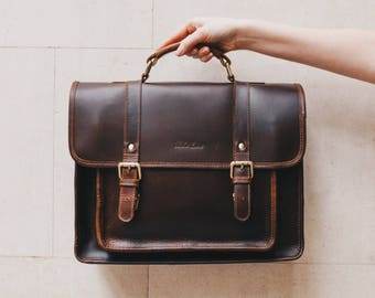 Leather Satchel laptop briefcase Messenger bag for men and women - Classic by Niche Lane