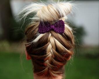 Crochet Hair Bow- Girls Hair Clip Purple