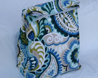 Jacobean Floral Blue Green Fully Insulated Lunch Bag Water and Mildew Resistant Interior-Brown Paper Bag Style