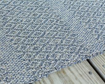 Hand Woven Rag Rug, 26x52, Diamond Design Cotton Rug, Kitchen Rag Rug, Swedish Rose Path Rug, Door Mat, Cottage Rag Rug, Cabin Rug, RV Rug