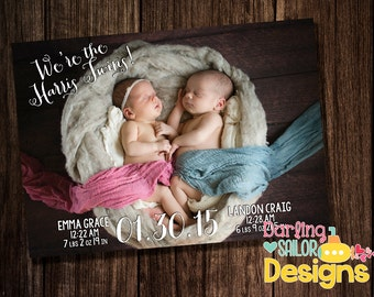 Twin Birth Announcement, Twin Announcement, 5x7, Print on your own or order prints, Photo Birth Announcement