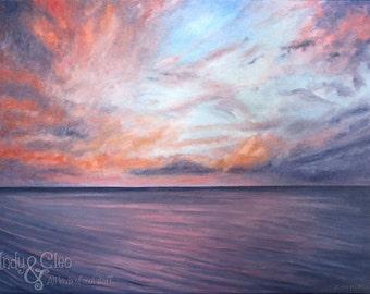 Maui Sunset Art Print, Amethyst Ocean, Twilight Sky Fine Art Giclee, Summer Beach Art, Home Decor, Hawaiian Wall Art, Dusk Sunset Lover Gift