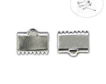 925 Sterling Silver Ribbon Crimp Ends Pendant Connector Ribbon End Clasp for Bracelet Jewelry Findings ID36312