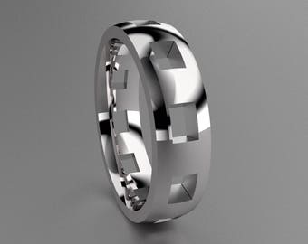 Silver 6mm Mens Wedding Band with Clean Pierced Holes, Classic 925 Sterling Silver Wedding Ring with Cutouts, Simple Mens Wedding Ring