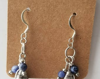 Teardrop Turquoise Wrapped Earrings/Sapphire/Stone