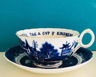 Antique Auld Lang Syne Teacup and Saucer, Willow Pattern, Williamson and Son