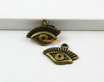 50Pcs Antique Brass Eye Charm Eye Pendant 17x10mm (PND764)
