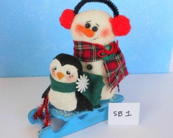 Snowman Decor, Snowman Doll, Snowman, Penguin, Christmas Decor, Holiday Decor, Winter Decor