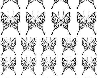 Tribal Butterfly Nail Art Decals - Your Choice of Color